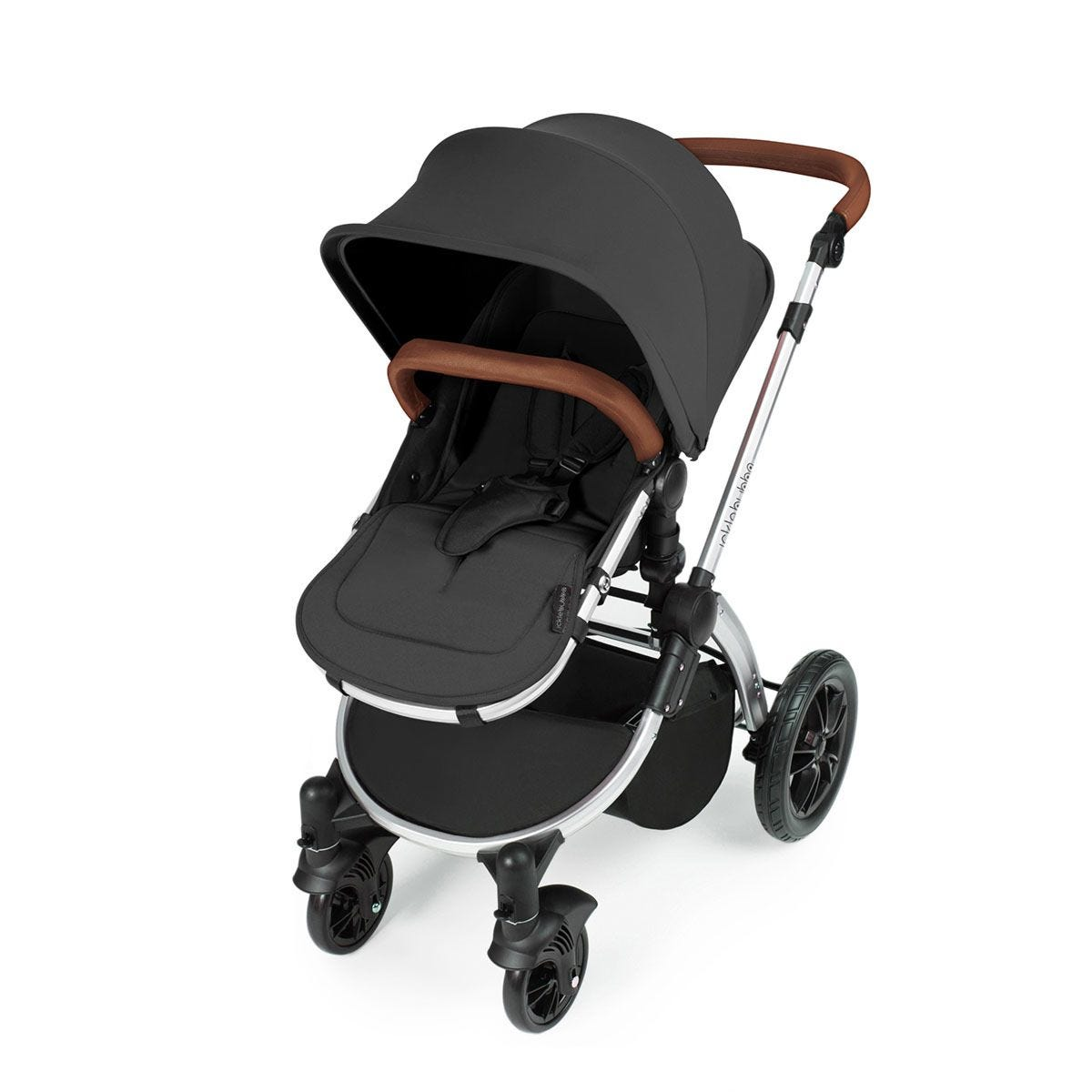 Ickle Bubba Stomp V3 All in One Travel System with Isofix Base - Graphite Grey on Silver with Tan Handles