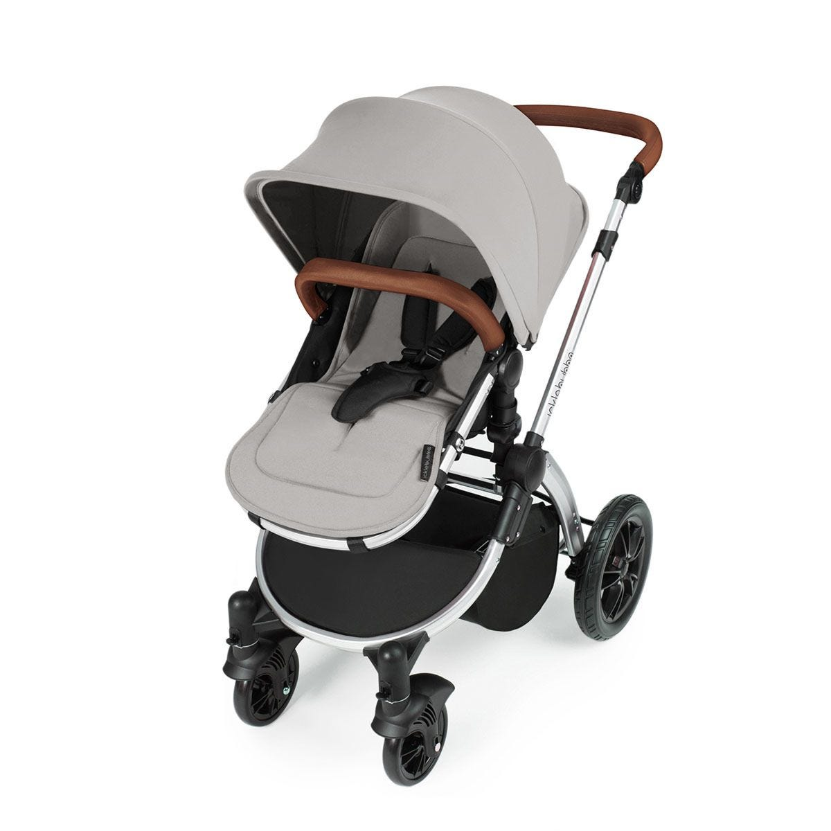 Ickle Bubba Stomp V3 All in One Travel System with Isofix Base - Silver on Silver with Tan Handles