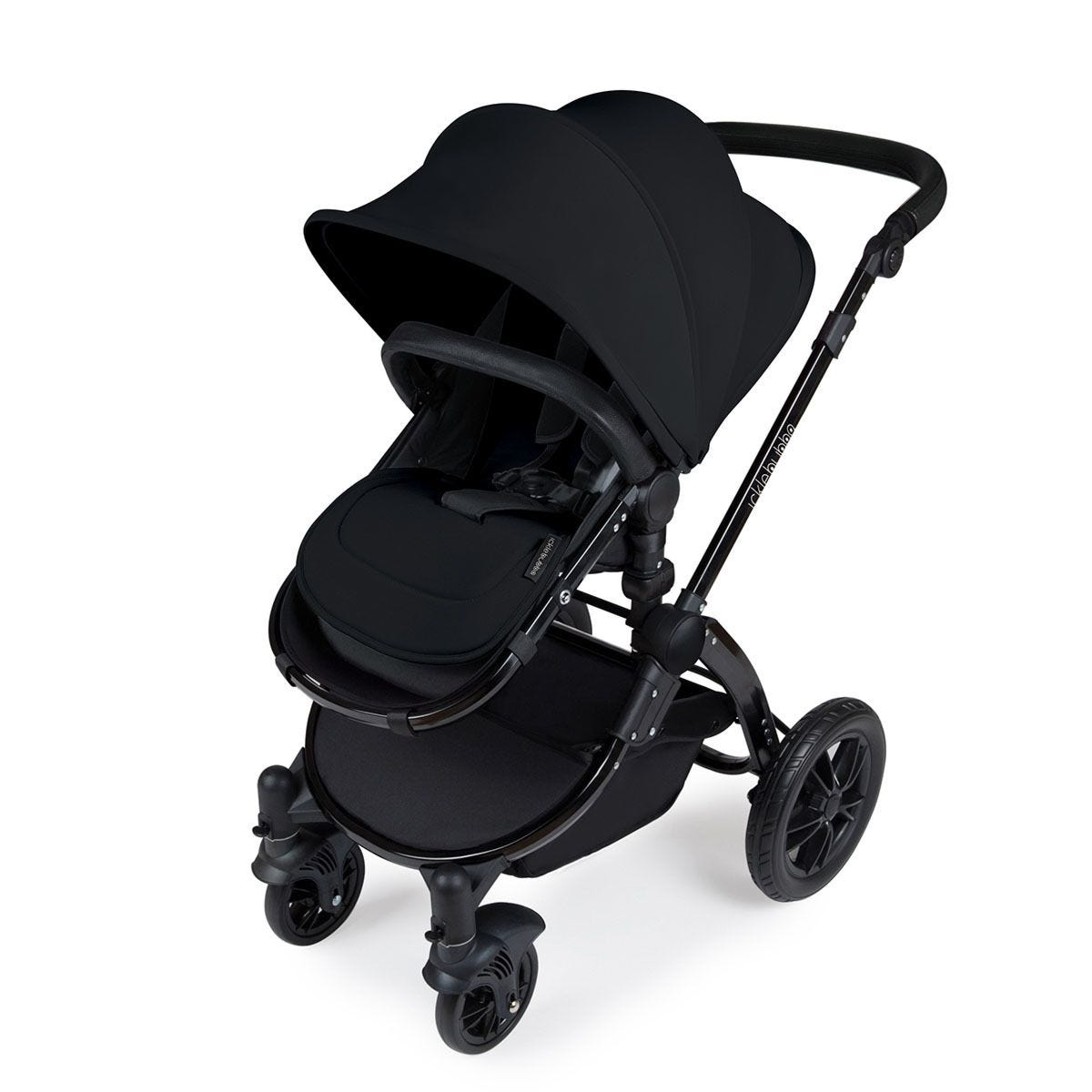 Ickle Bubba Stomp V3 i-Size Travel System with Isofix Base - Black on Black with Black Handles