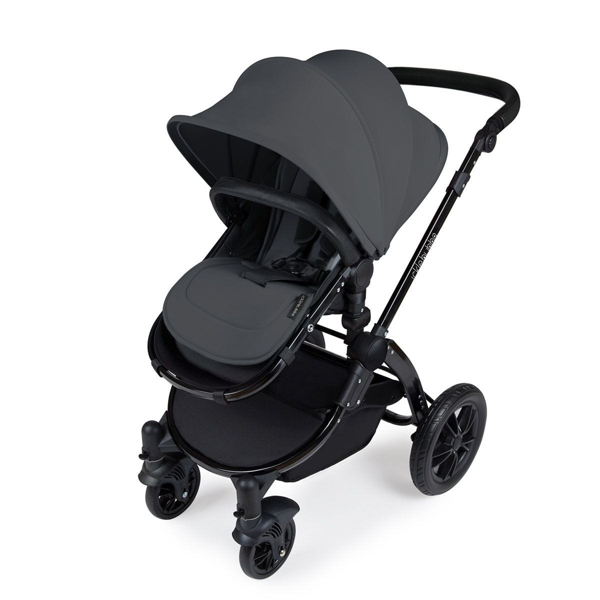 Ickle Bubba Stomp V3 i-Size Travel System with Isofix Base - Graphite Grey on Black with Black Handles