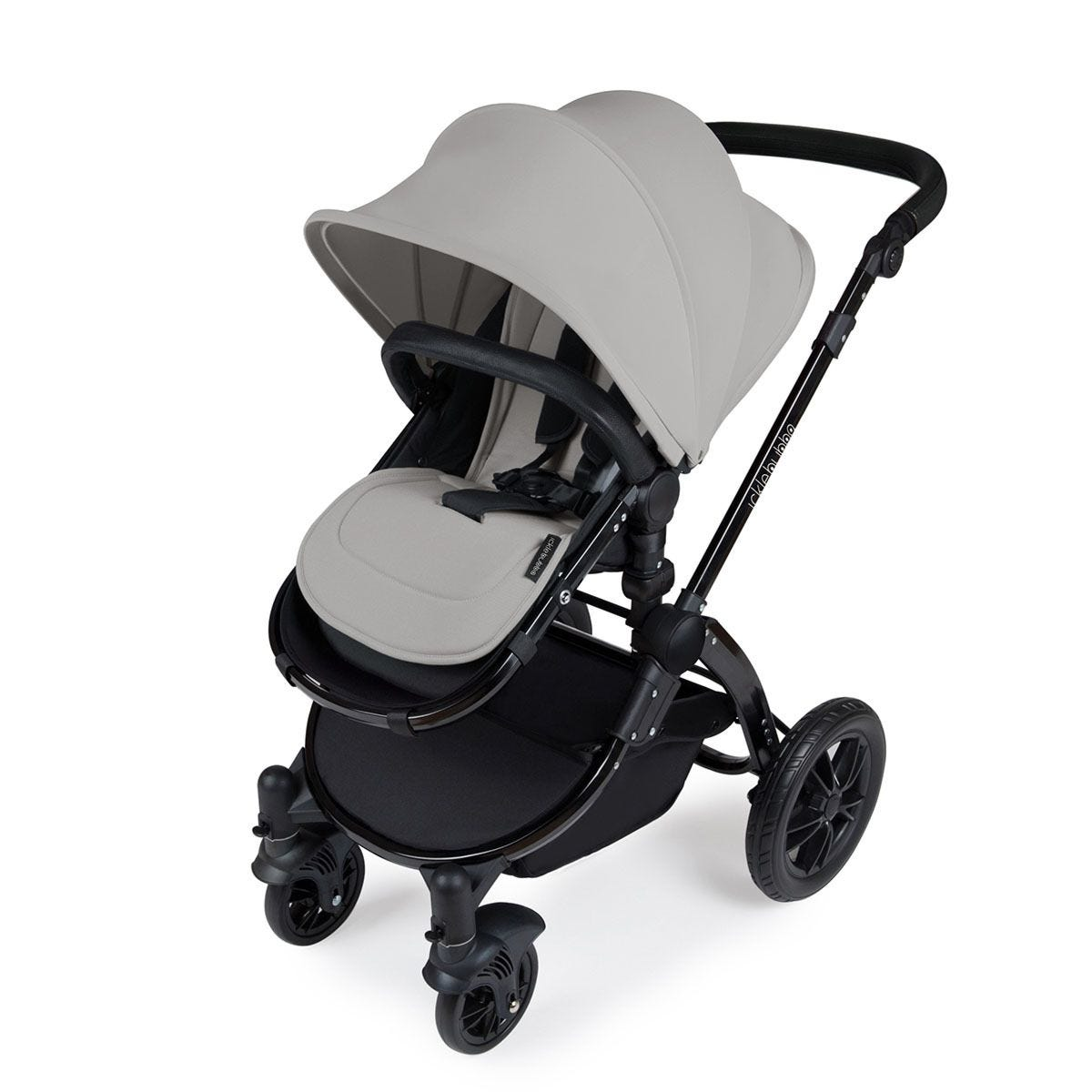 Ickle Bubba Stomp V3 i-Size Travel System with Isofix Base - Silver on Black with Black Handles