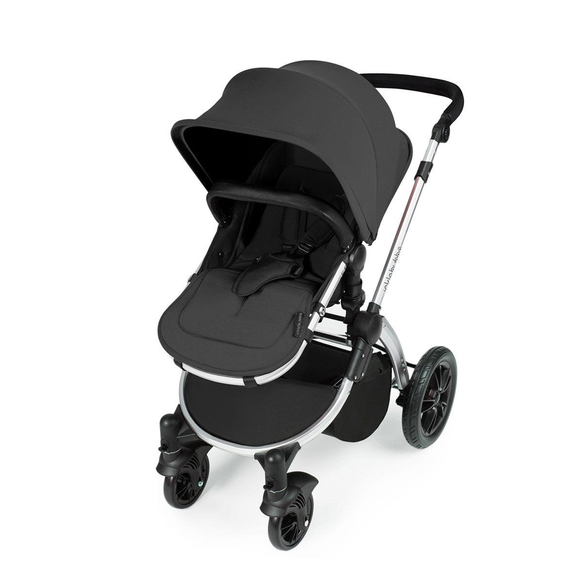 Ickle Bubba Stomp V3 i-Size Travel System with Isofix Base -Graphite Grey on Silver with Black Handles