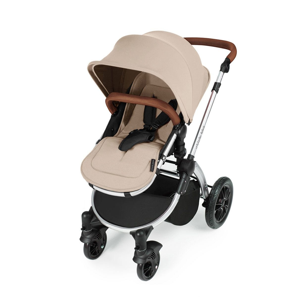 Ickle Bubba Stomp V3 i-Size Travel System with Isofix Base -Sand on Silver with Tan Handles