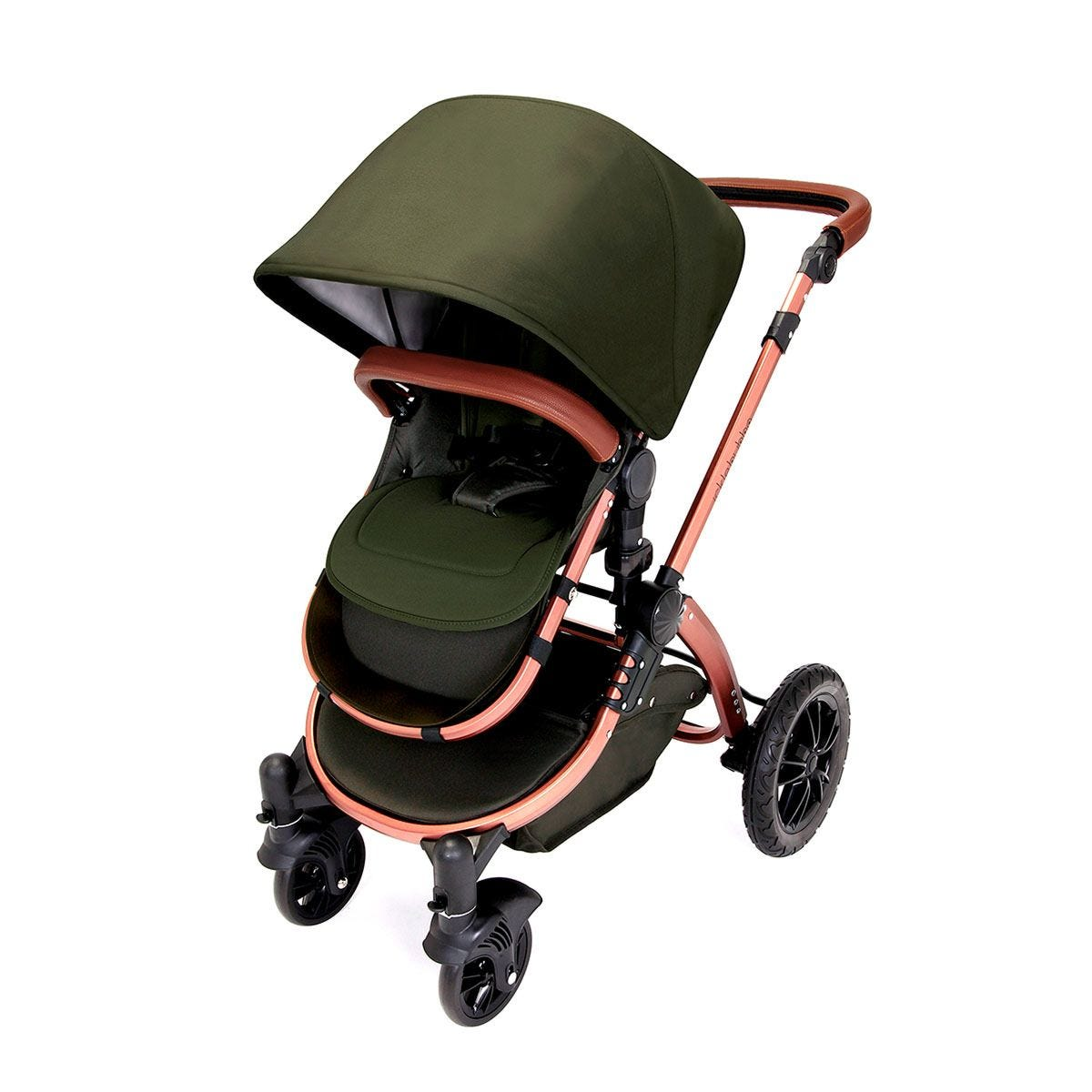 Ickle Bubba Stomp V4 All in One Travel System with Isofix Base - Woodland on Bronze with Tan Handles