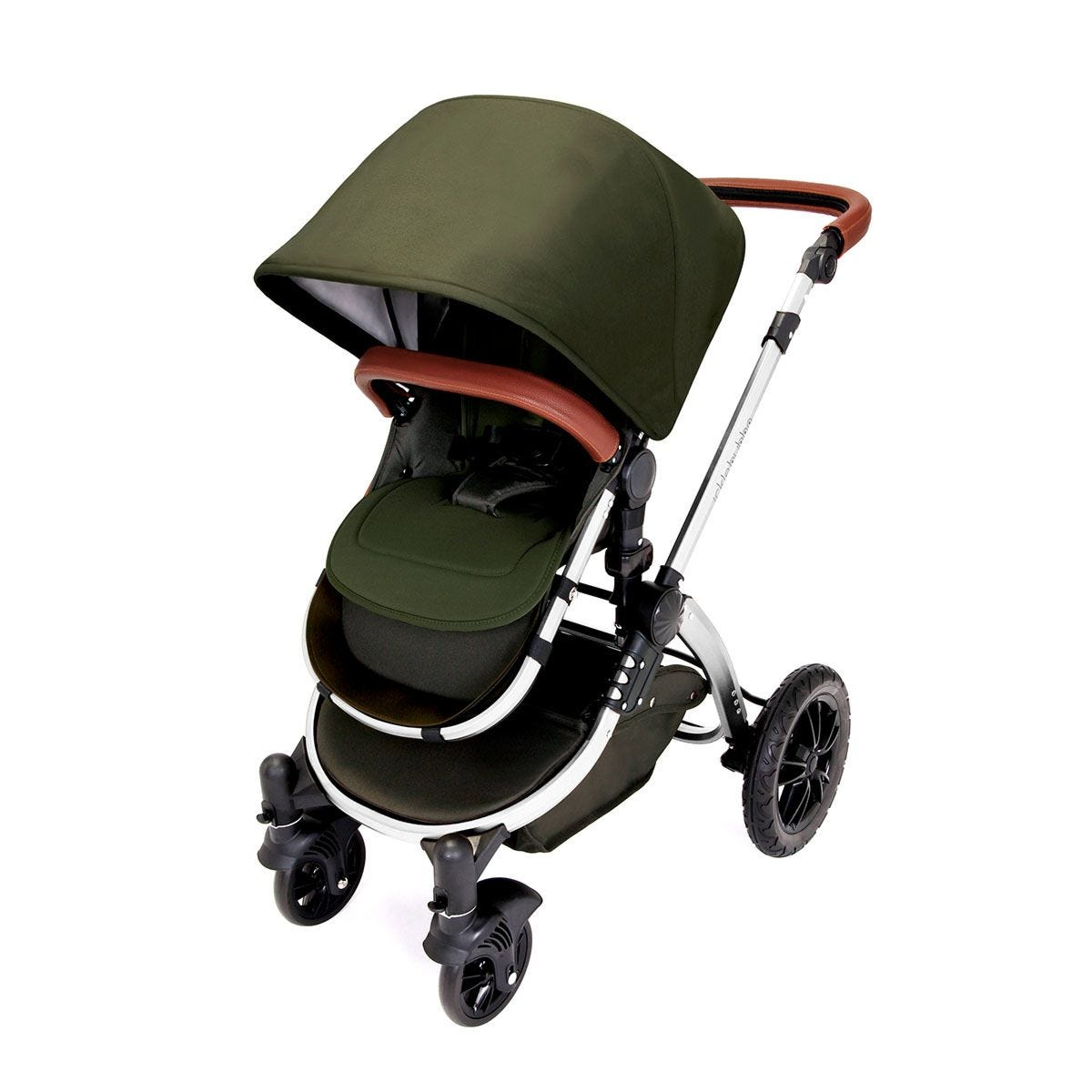 Ickle Bubba Stomp V4 All in One Travel System with Isofix Base - Woodland on Chrome with Tan Handles