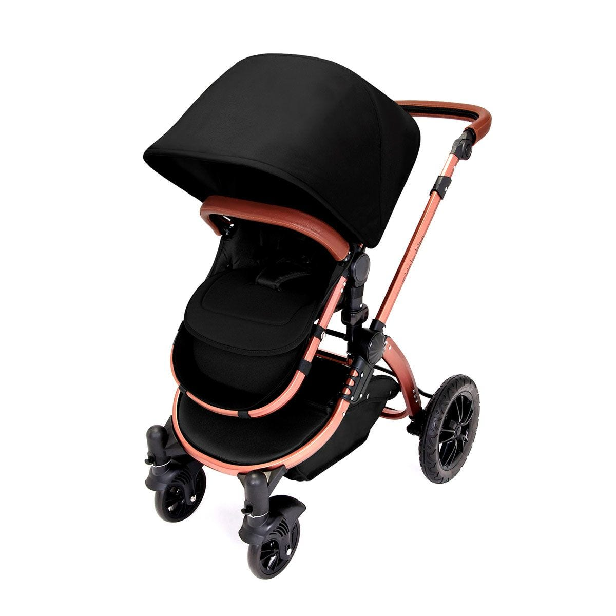Ickle Bubba Stomp V4 i-Size Travel System with Isofix Base - Midnight on Bronze with Tan Handles