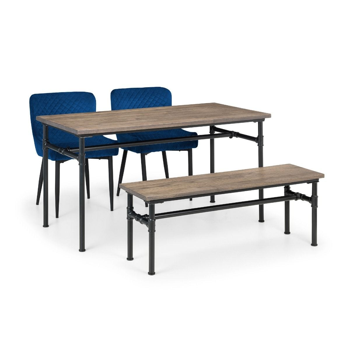 Set of Carnegie Table Bench and 2 Luxe Blue Chairs