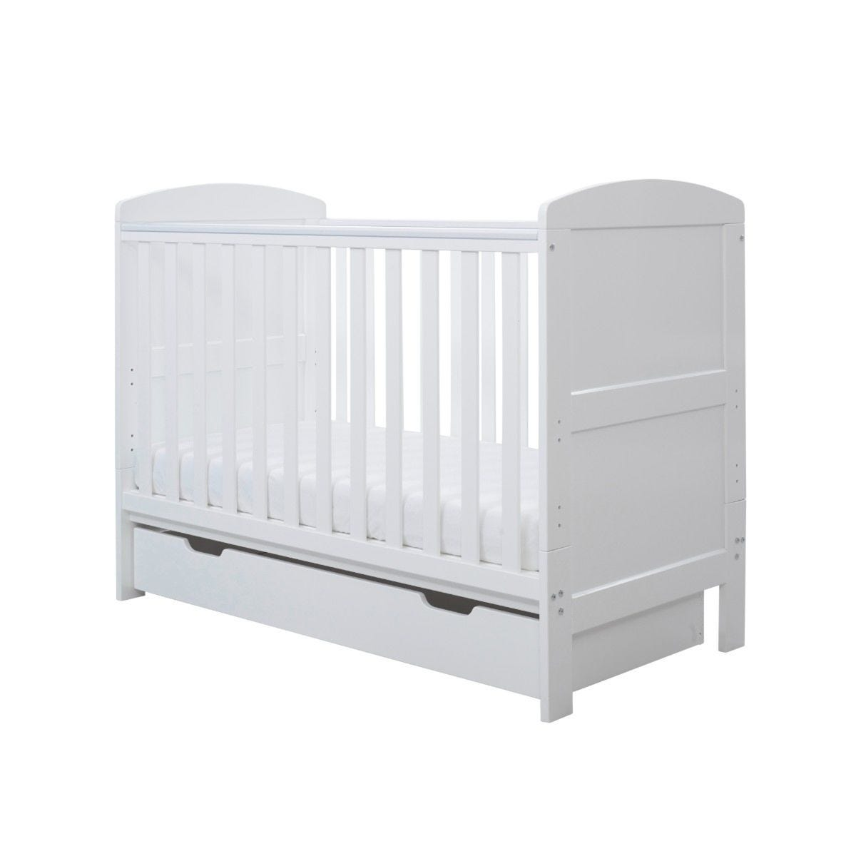 Ickle Bubba Coleby Mini Cot Bed Under Drawer and Sprung Mattress White