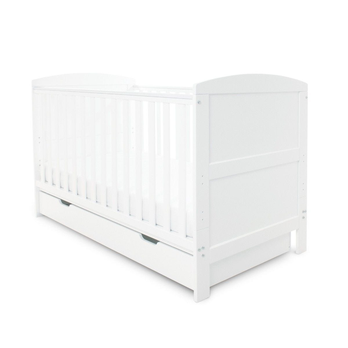 Ickle Bubba Coleby Classic Cot Bed Under Drawer and Sprung Mattress White