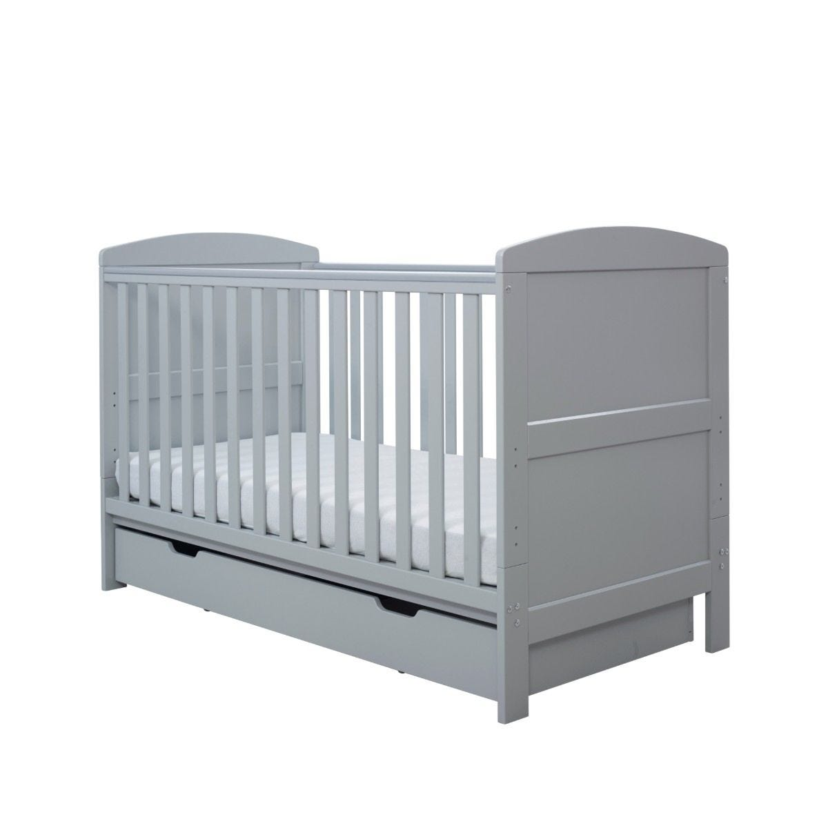 Ickle Bubba Coleby Classic Cot Bed Under Drawer and Sprung Mattress Grey