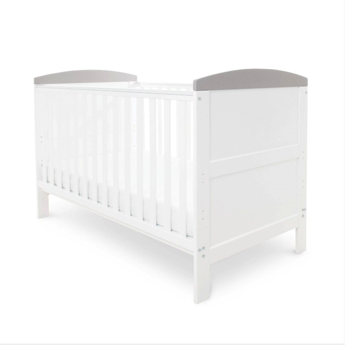 Ickle Bubba Coleby Classic Cot Bed And Pocket Sprung Mattress White with Grey Trim