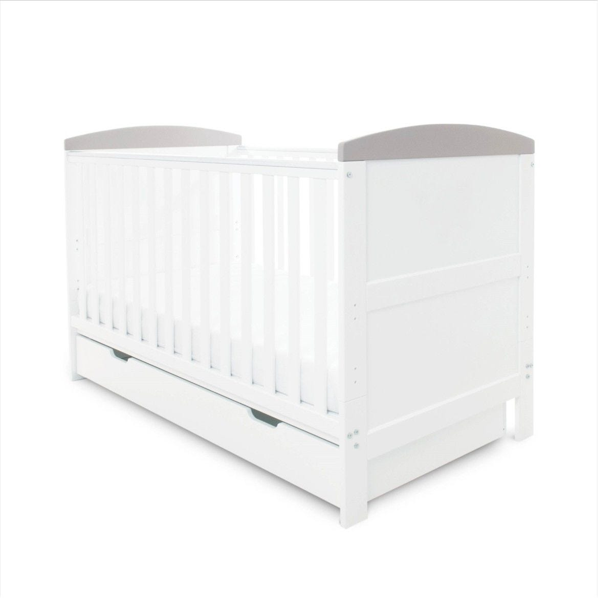 Ickle Bubba Coleby Classic Cot Bed Under Drawer and Sprung Mattress White With Grey Trim