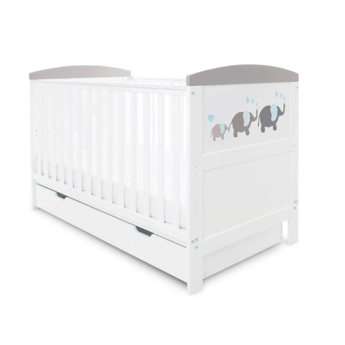 Ickle Bubba Coleby Style Cot Bed, Under Drawer and Pocket Sprung Mattress Elephant Love Grey