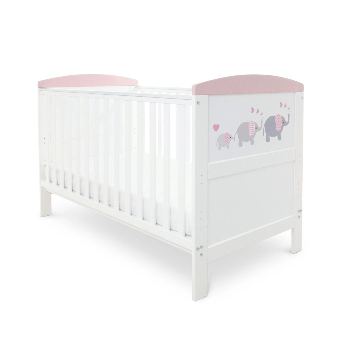 Ickle Bubba Coleby Style Cot Bed and Sprung Mattress Elephant Love Pink