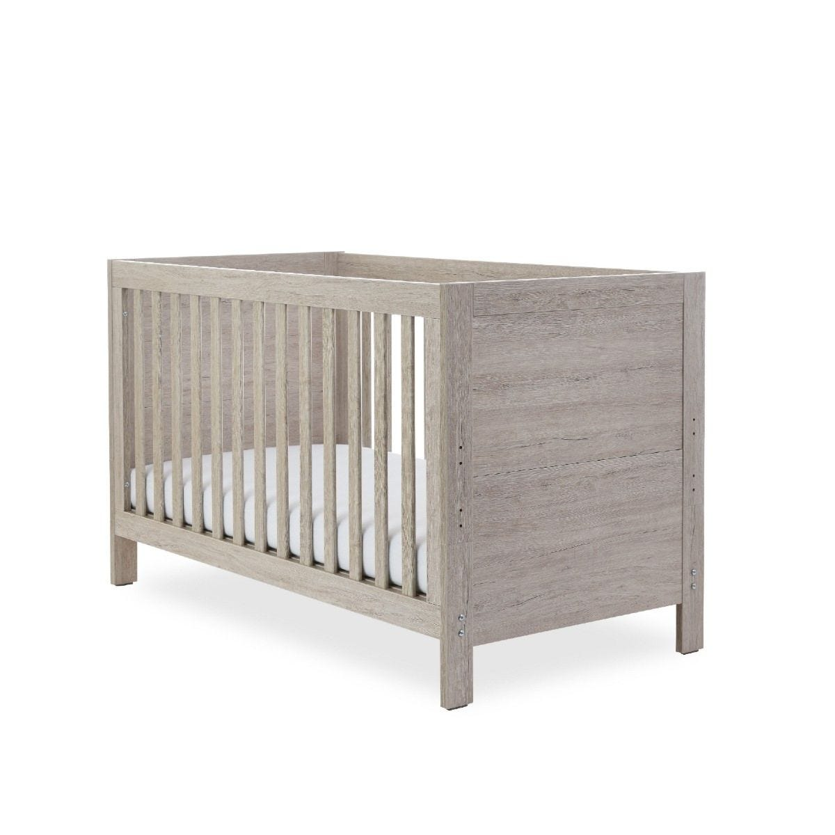 Ickle Bubba Grantham Cot Bed & Pocket Sprung Mattress Grey Oak