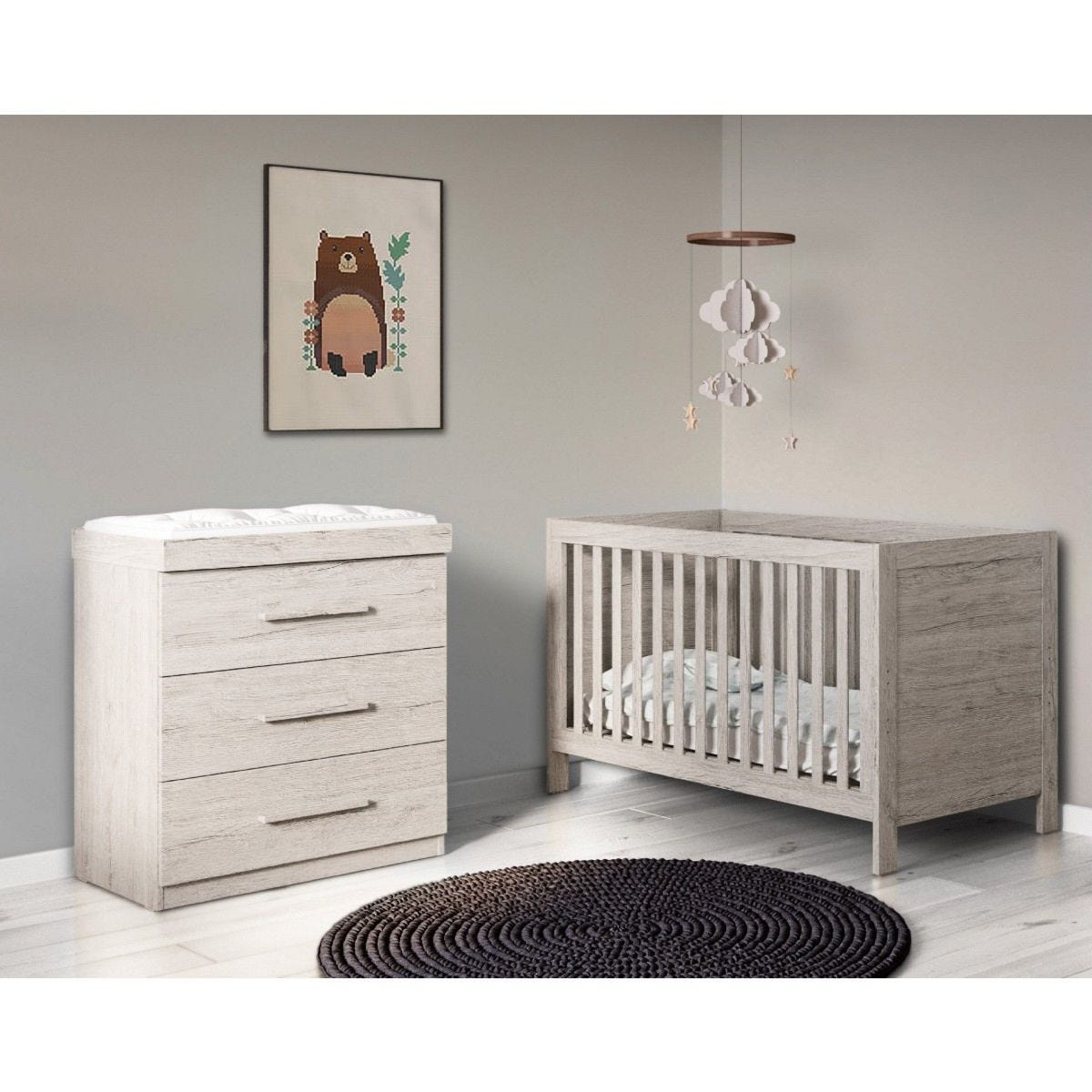 Ickle Bubba Grantham 2 Piece Furniture Set Grey Oak