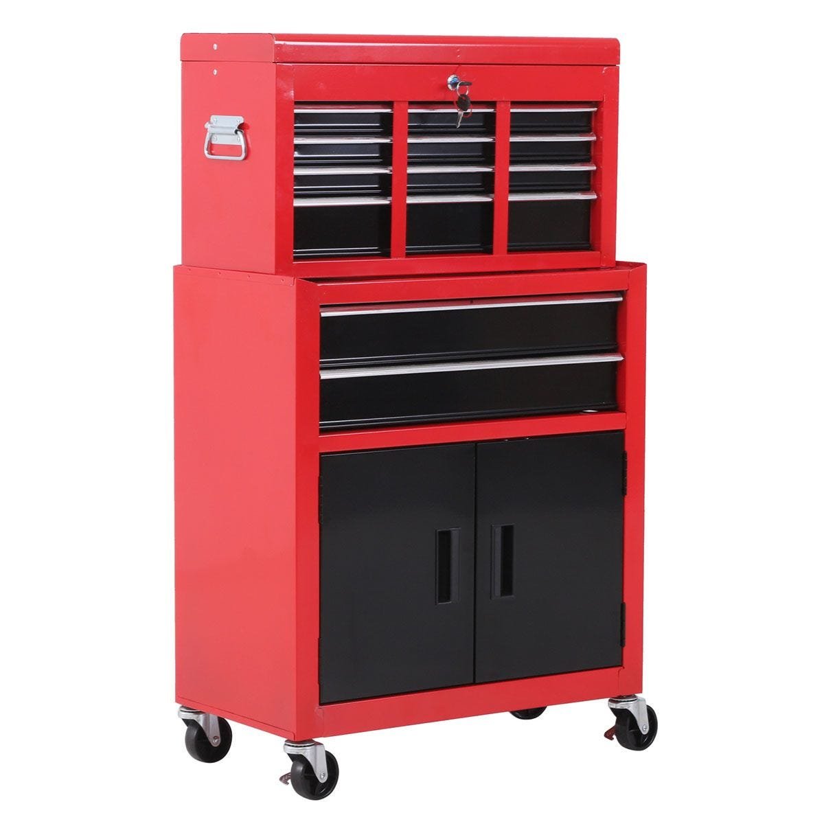 HOMCOM Portable Toolbox Tool Top Chest Box Rollcab Cabinet Garage Storage