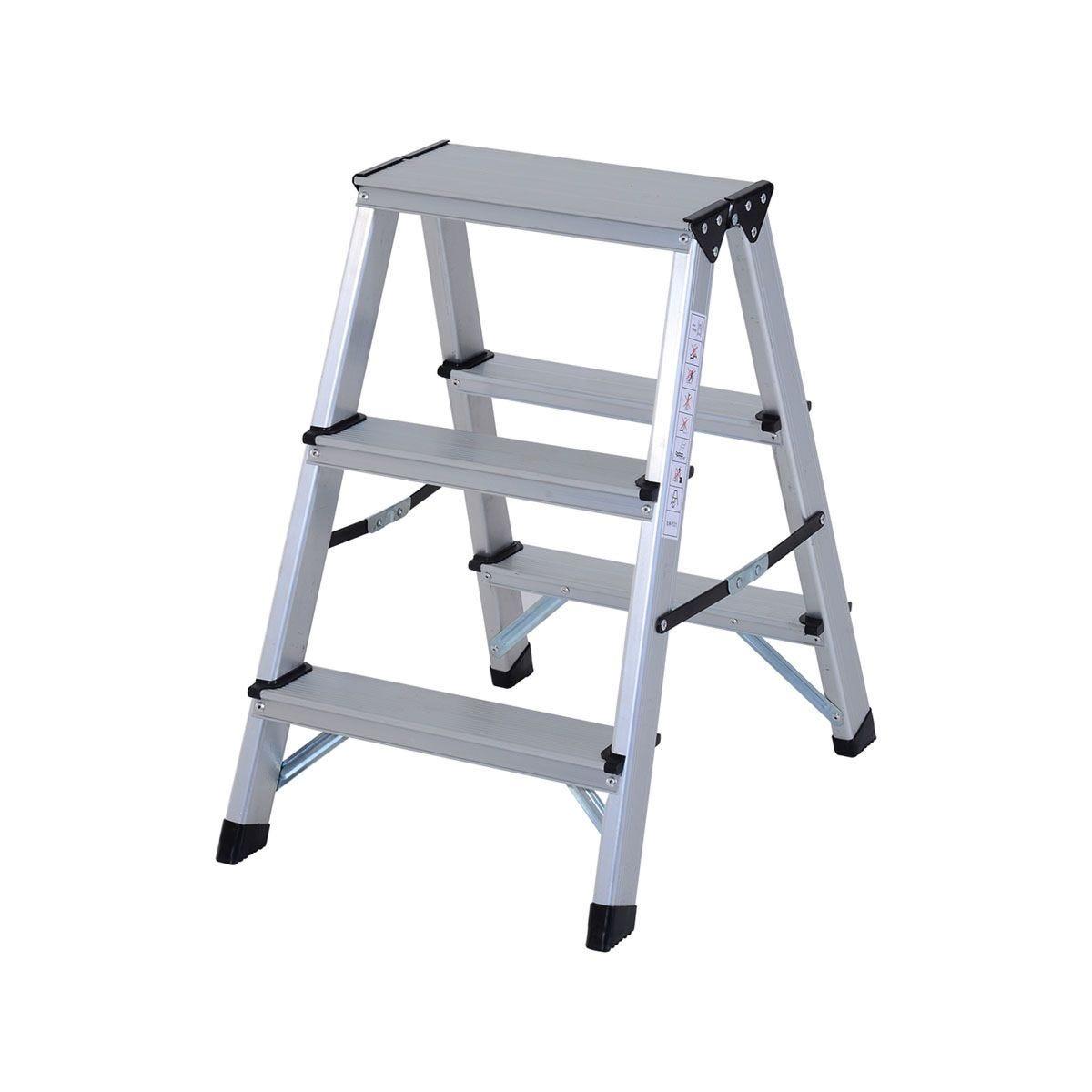 HOMCOM Foldable Aluminum Ladder A-type Multi-functional Folding 3 Steps - Silver