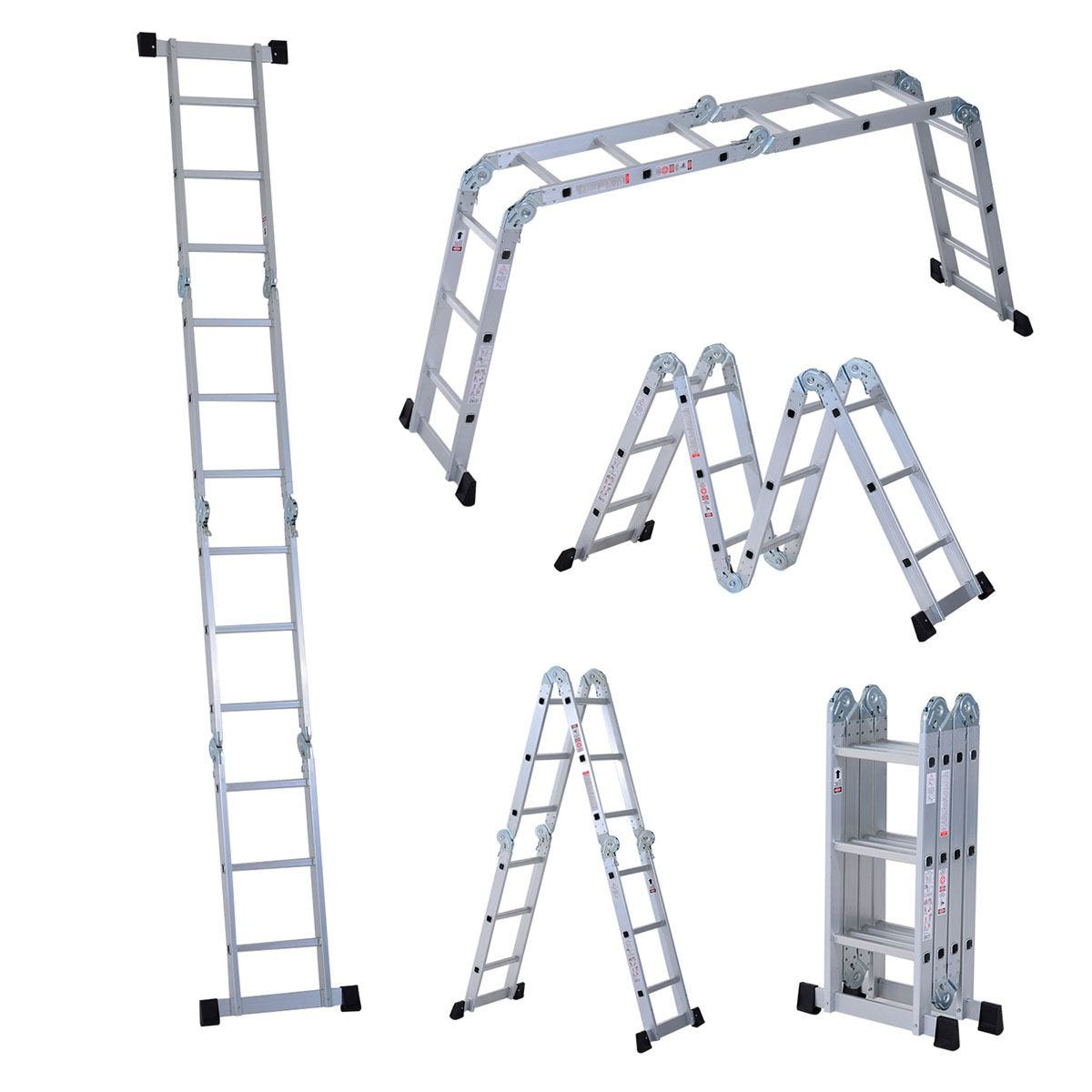 HOMCOM Foldable Platform Aluminum Ladder Multi-Functional Folding Scaffold Extension