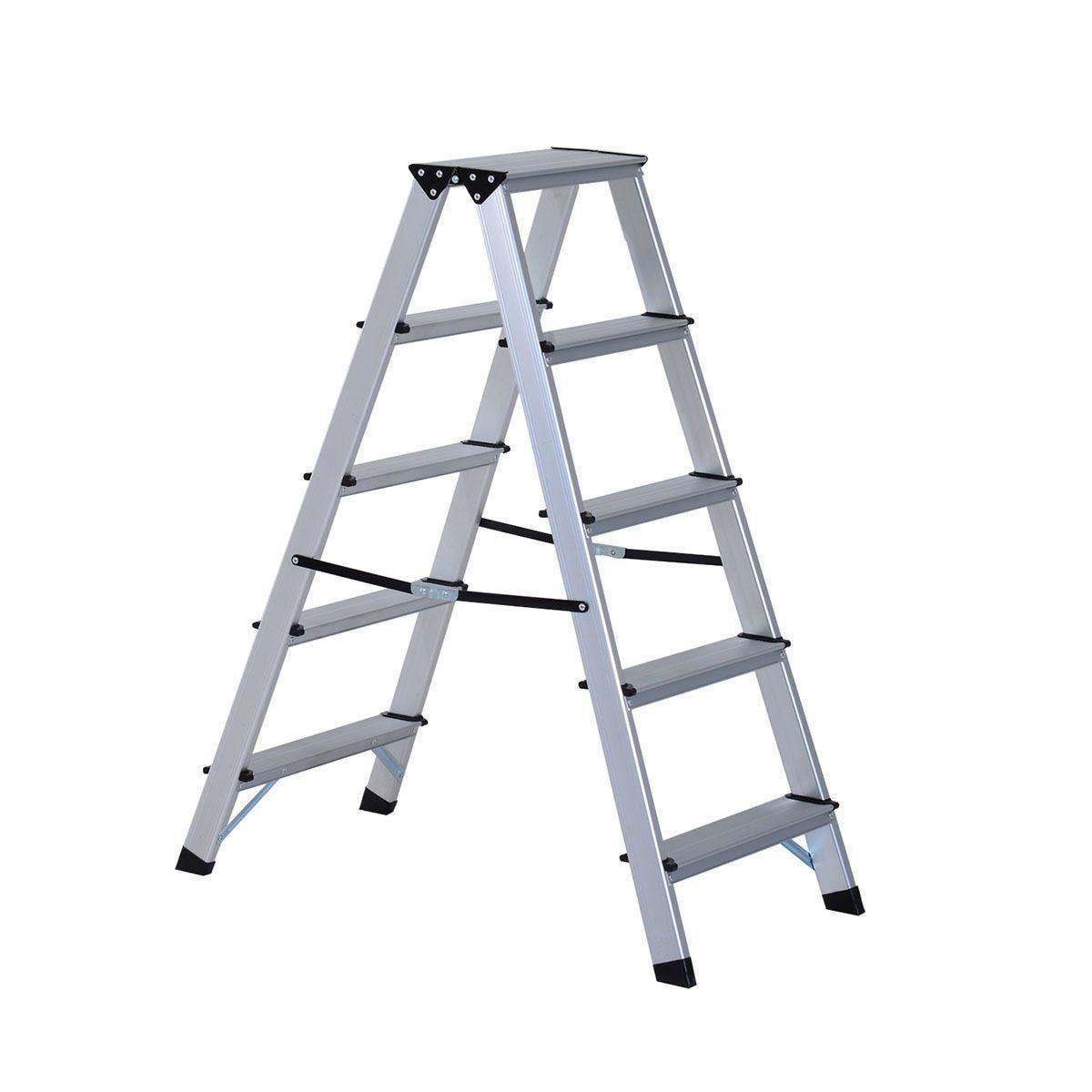 HOMCOM Foldable Aluminum Ladder A-Type Multi-functional Folding Step Platform - Silver