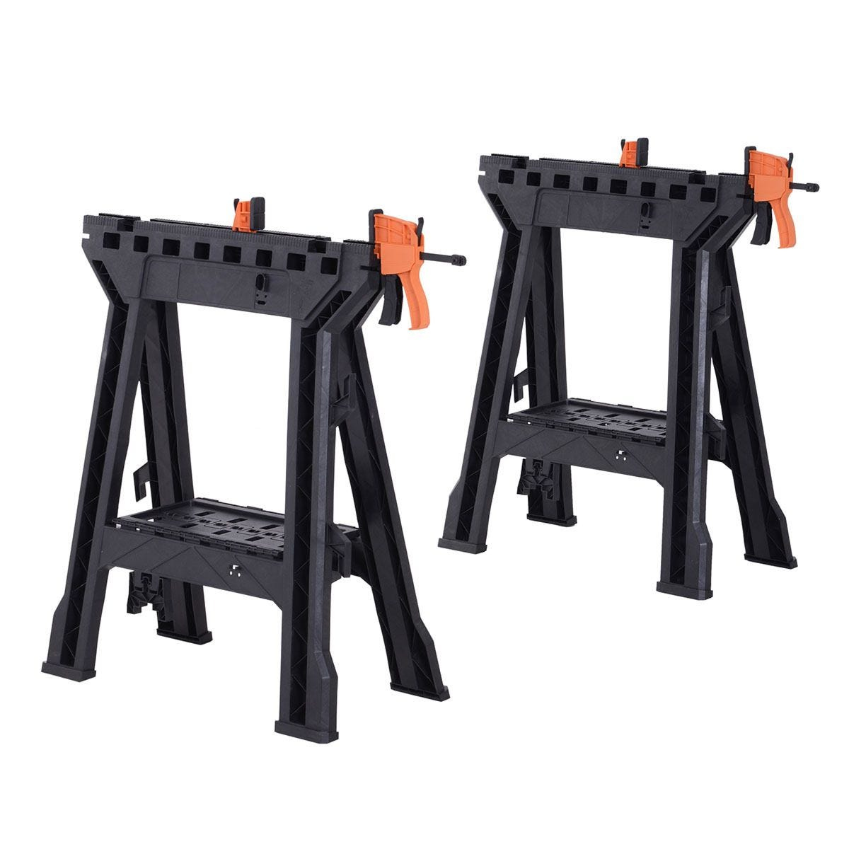 Durhand Foldable Clamping Sawhorse Trestle Twin Support Bars Cutting Stands Workbench - Black & Orange