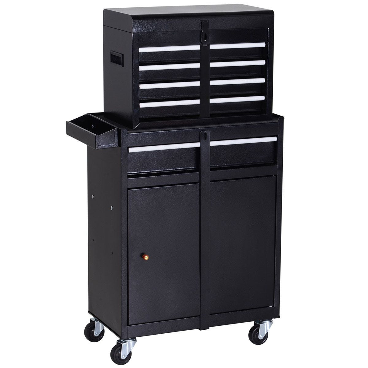 Durhand 2 in 1 Metal Tool Cabinet Storage Box Cabinet with 5 Drawers Pegboard Chest - Black & Brown