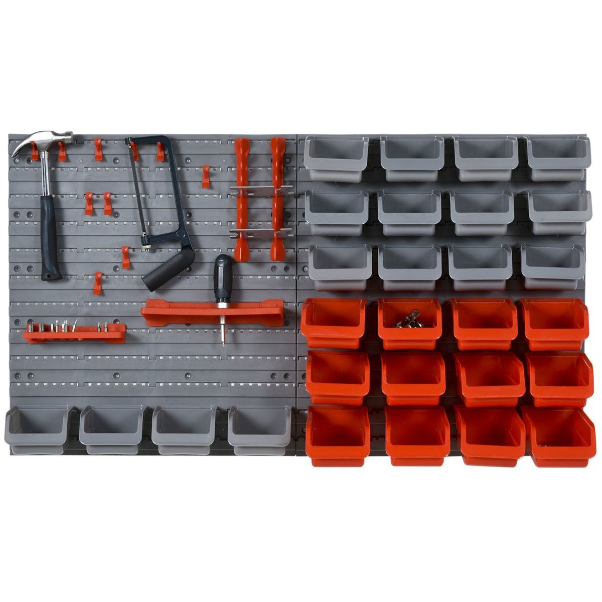 Durhand 44 Piece On-Wall DIY Storage Unit with 28 Cubes 10 Hooks 2 Boards Screws - Red & Grey