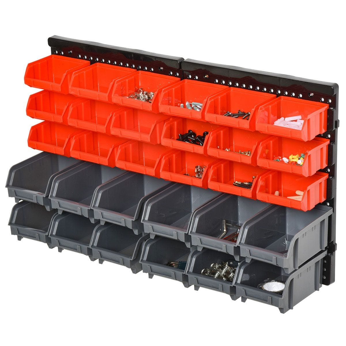 Durhand 30 Cubbie On-Wall Storage Board Tool Screw Organiser with Screw Kit - Grey & Red