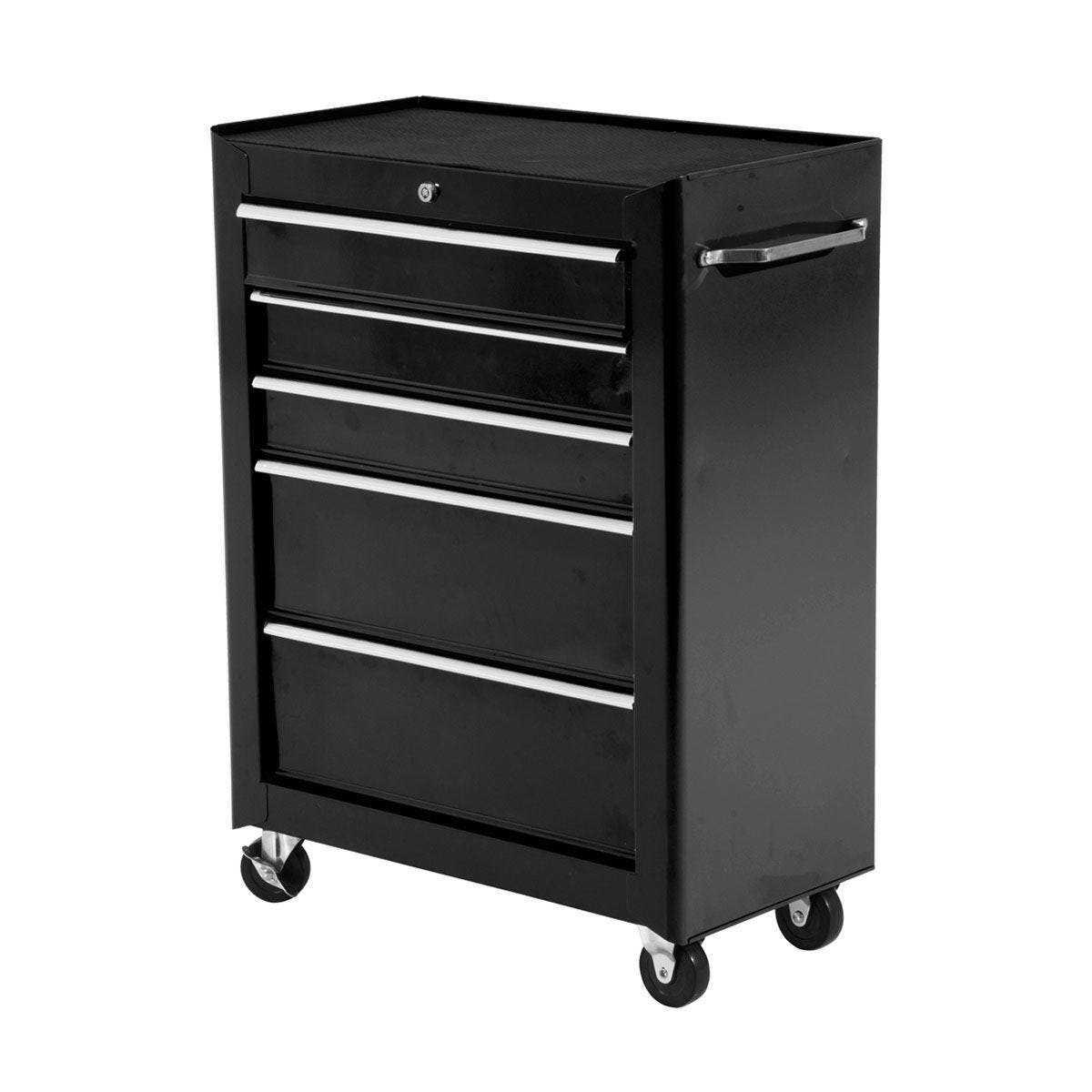 HOMCOM 5-Drawer Lockable Steel Tool Storage Cabinet with Wheels Handle - H82.5 x L61.5cm