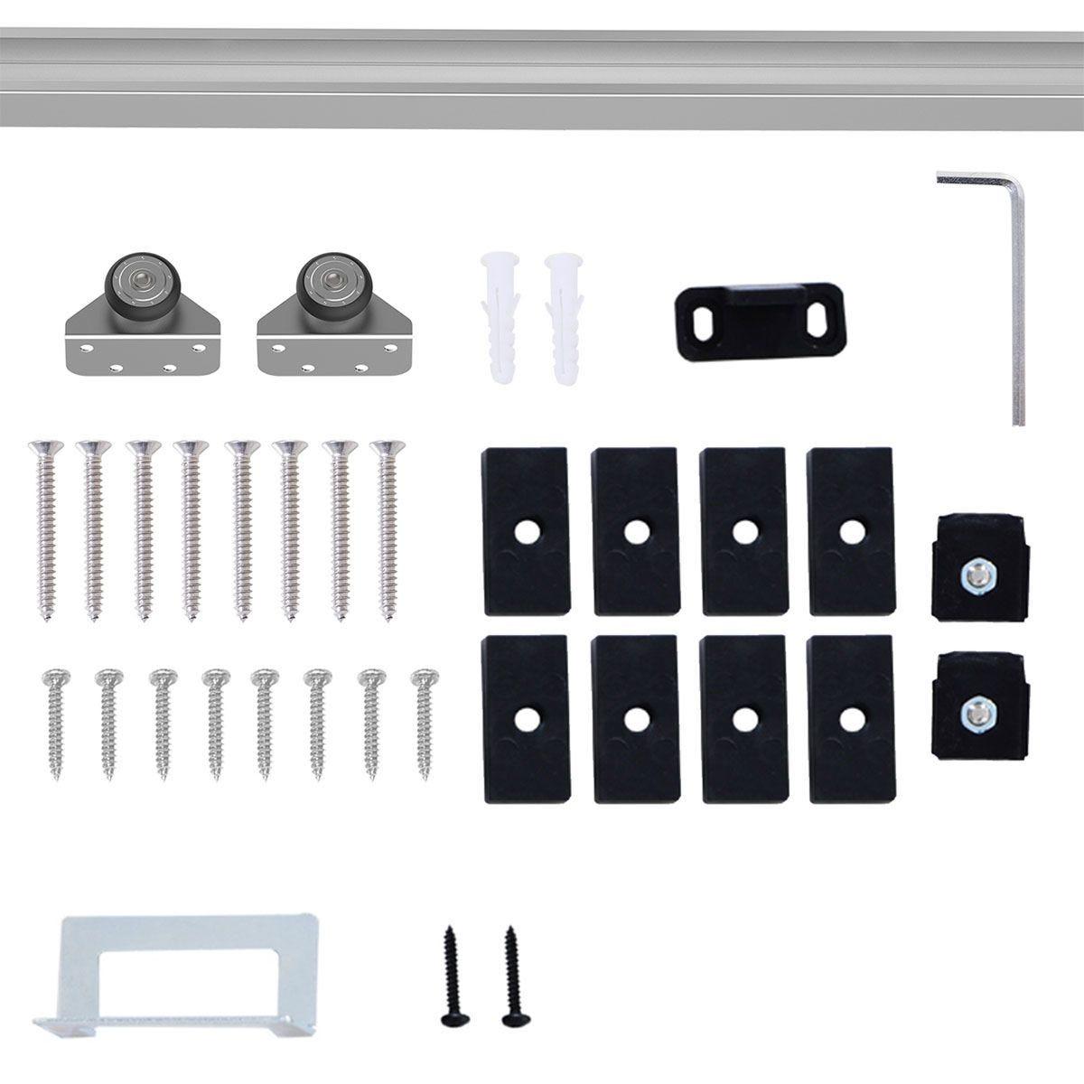 HOMCOM Sliding Barn Door Kit Set - Silver
