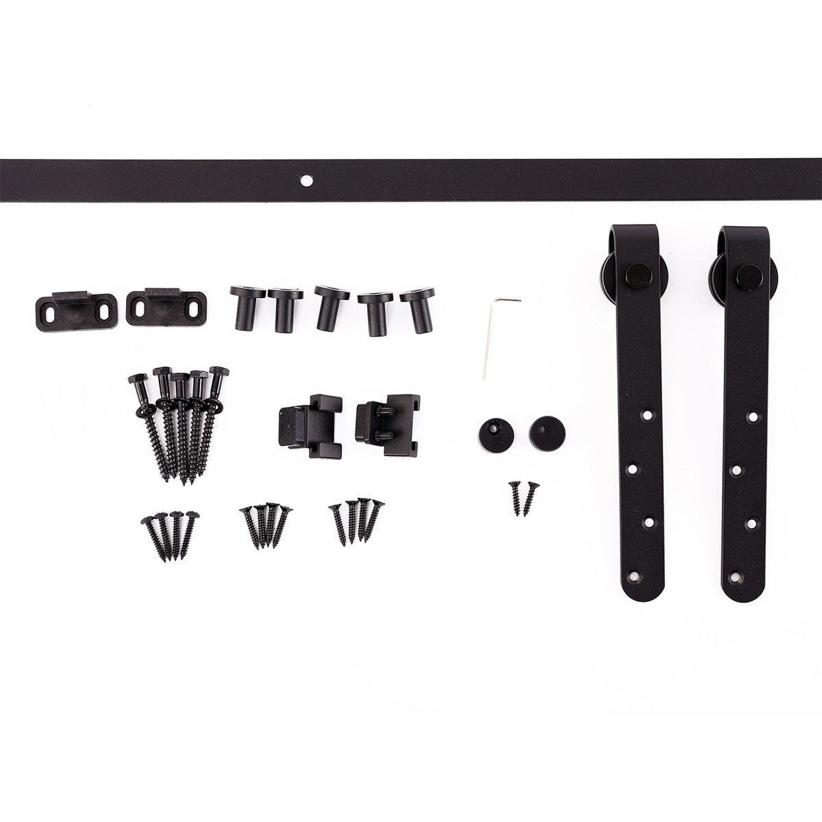 HOMCOM Steel 180cm Sliding Barn Door Hardware Kit - Black