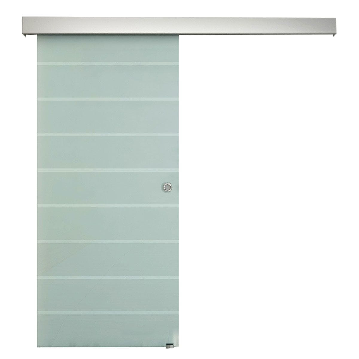 HOMCOM Tempered Glass Sliding Barn Door Kit Aluminum-alloy Rail W/Handle-Frosted Glass with Stripes