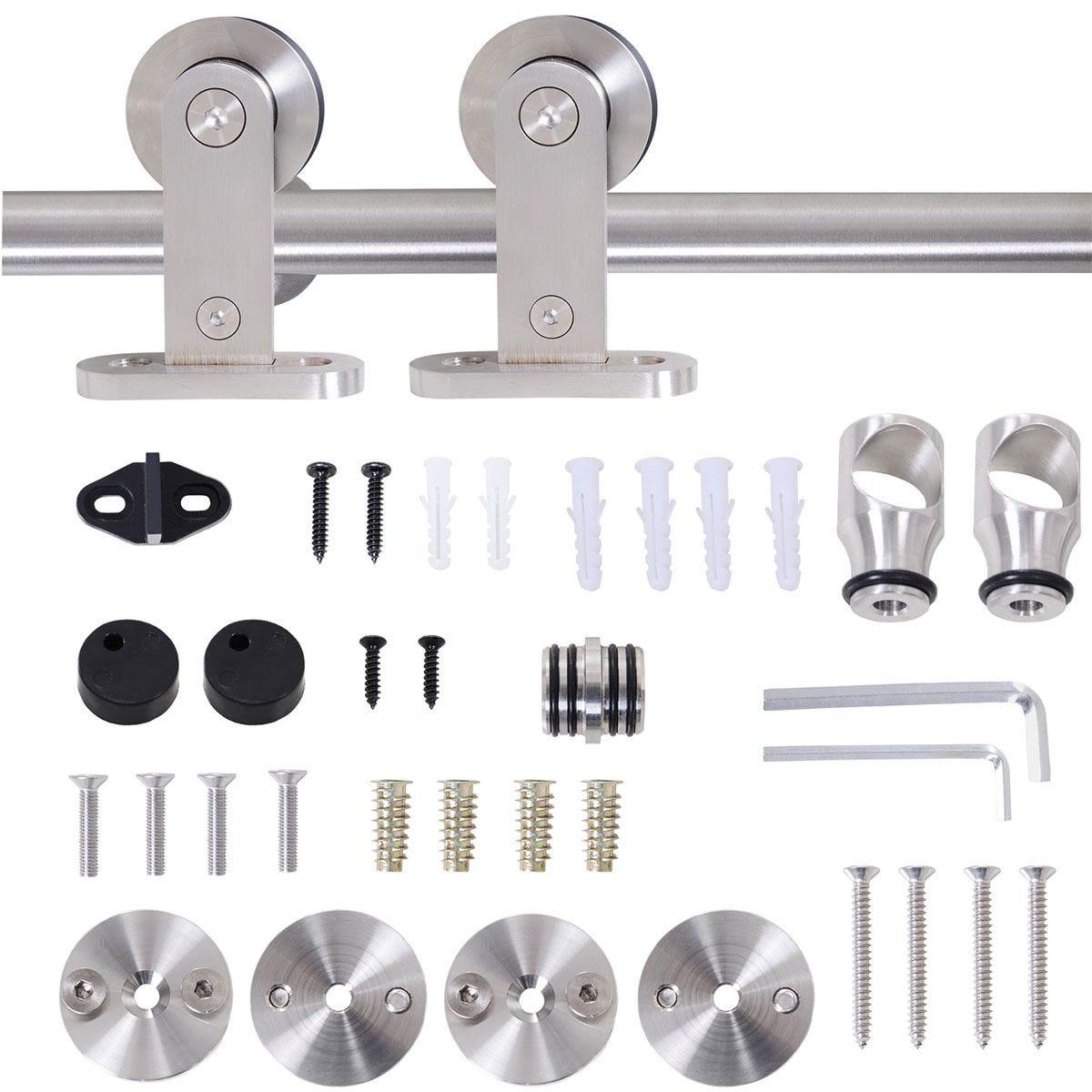HOMCOM 35-45mm Track Stainless Steel Sliding Door Kit - Silver