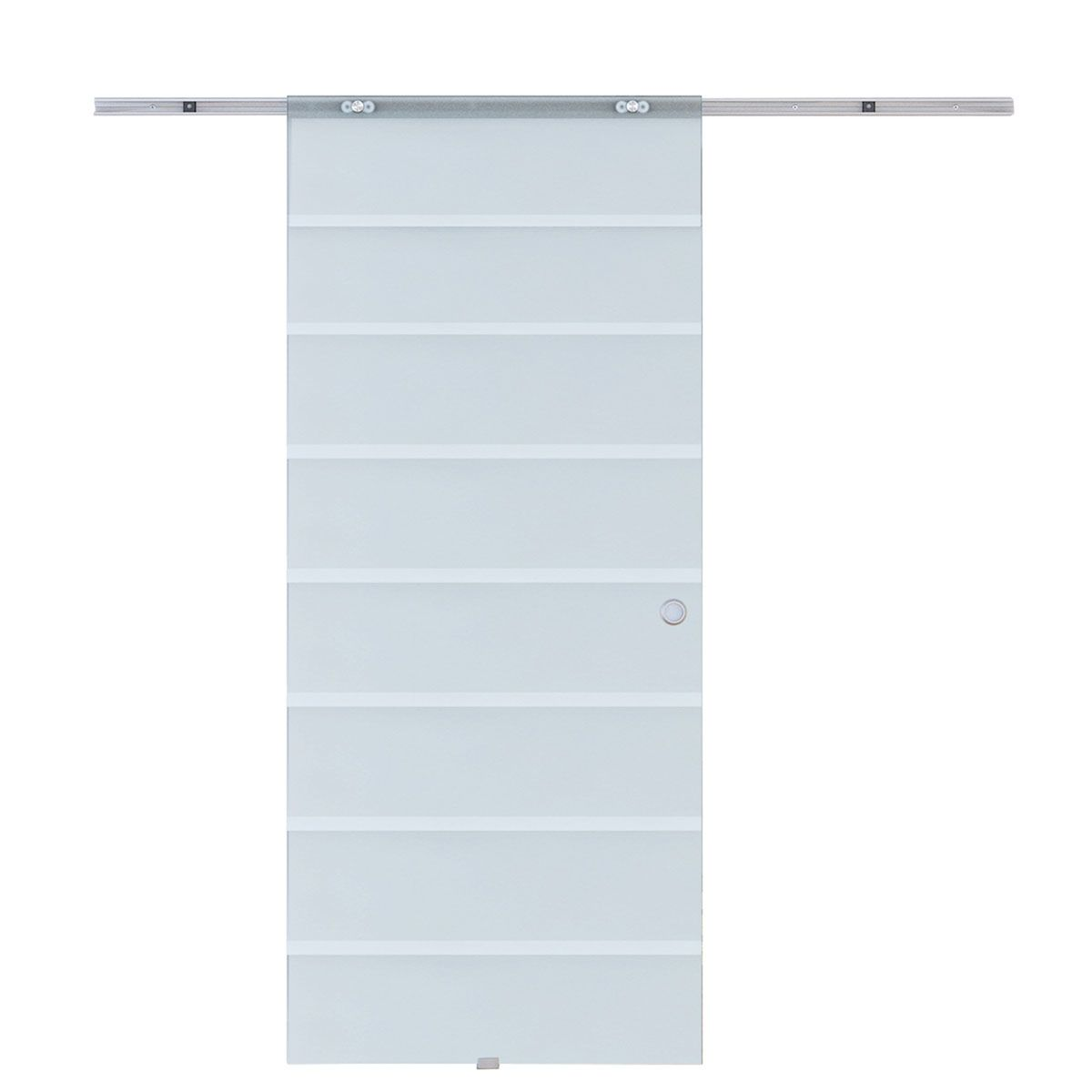 HOMCOM 6.7ft Frosted Tempered Glass Sliding Door with Track