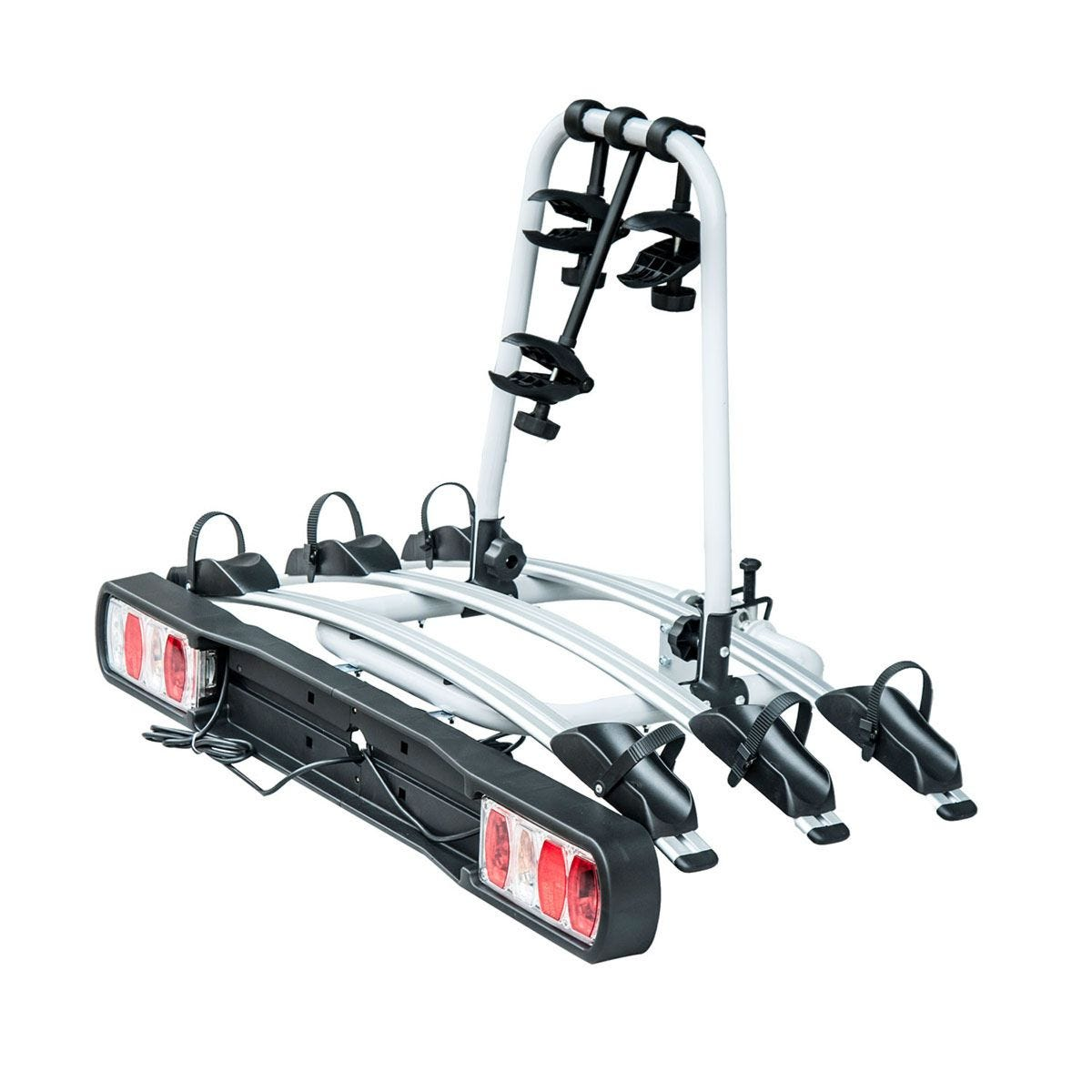 HOMCOM 3 Bicycle Carrier Rear-mounted SUV Mountain Hitch Mounted Rack - Black & Silver