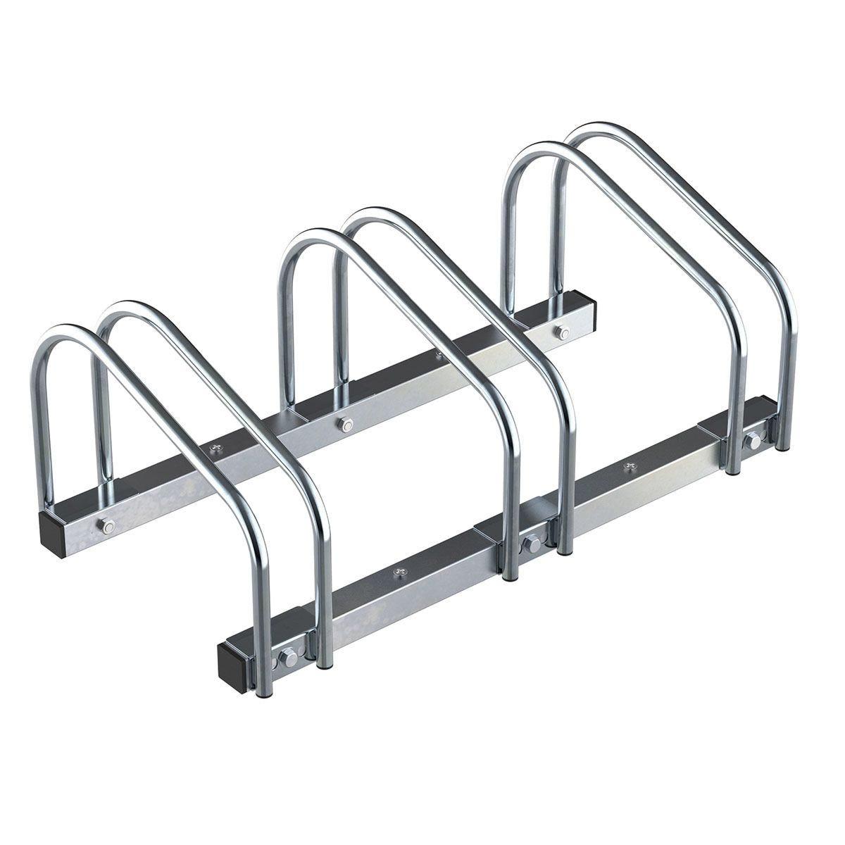 HOMCOM 3 Bike Parking Rack Locking Storage Stand Holder Outdoor Floor Wall Mount Steel - Silver
