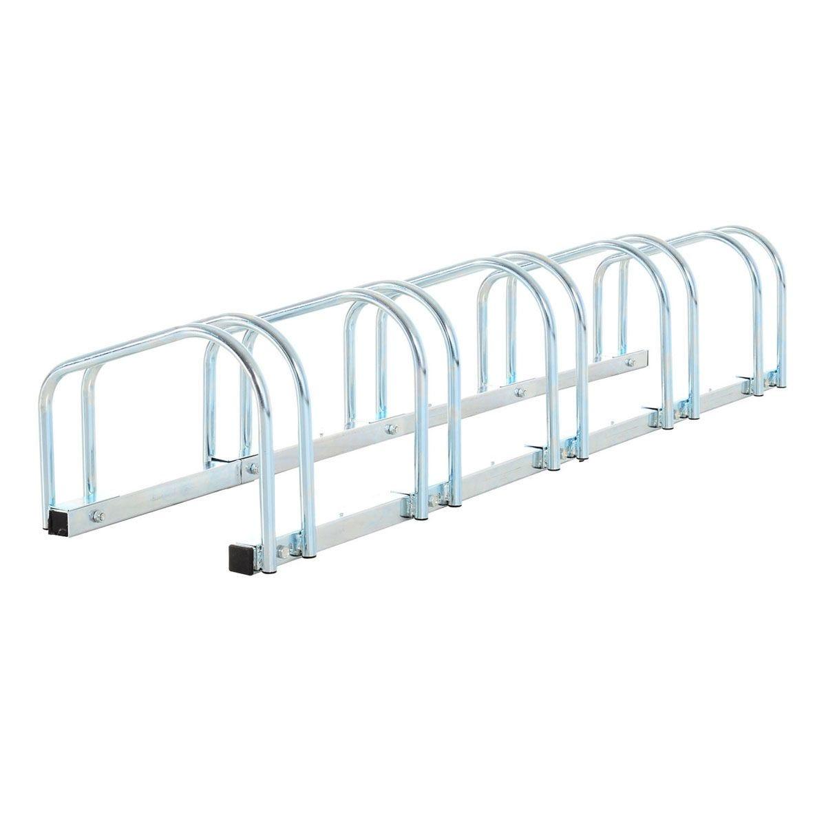 HOMCOM 5 Bike Parking Rack Locking Storage Stand Holder Outdoor Floor Wall Mount Steel - Silver
