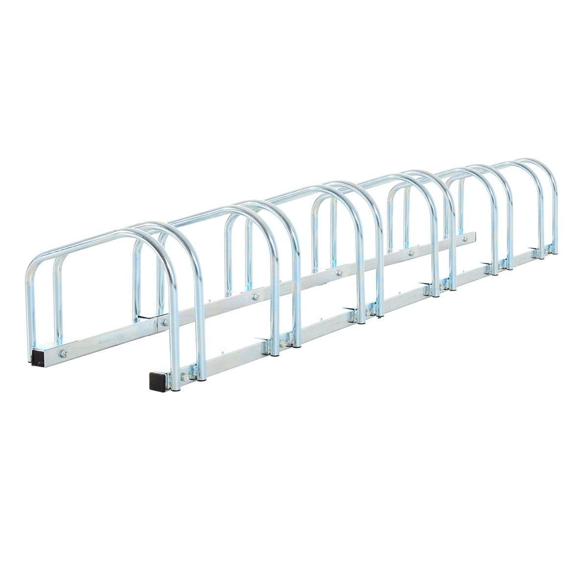 HOMCOM 6 Bike Parking Rack Locking Storage Stand Holder Outdoor Floor Wall Mount Steel - Silver