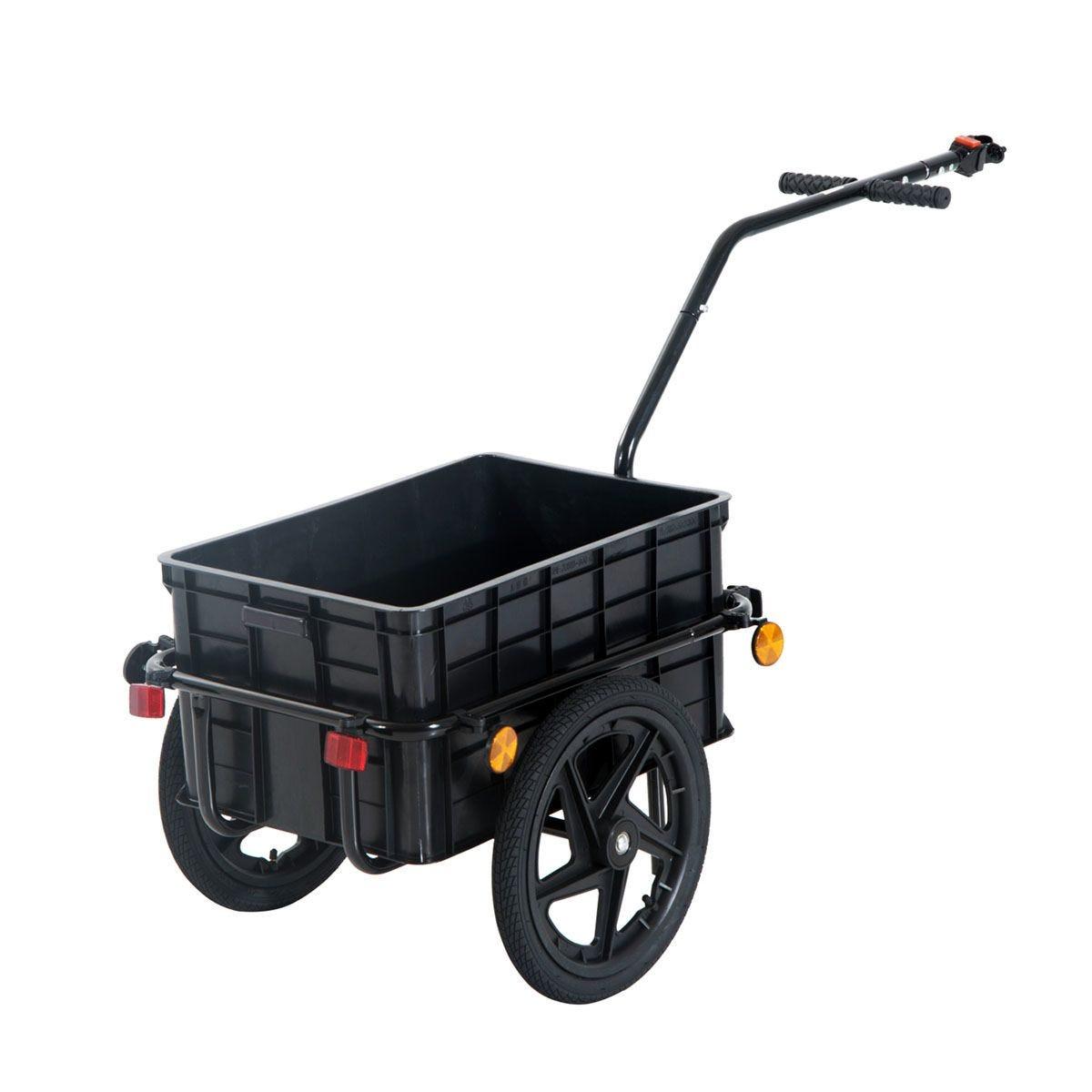 HOMCOM Cargo Trailer Bike with Carrier Utility Luggage - Black