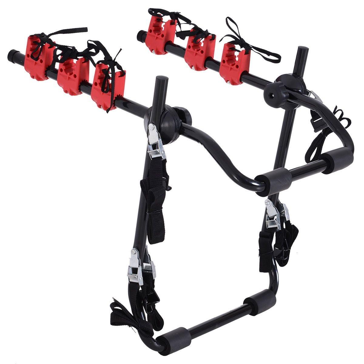 HOMCOM Foldable 3 Bike Carrier Rack - Black & Red