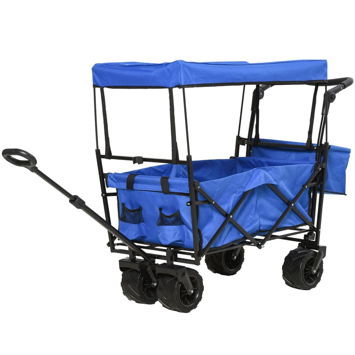 Durhand 2-Compartment Push/Pull Handle Trolley Cart - Blue
