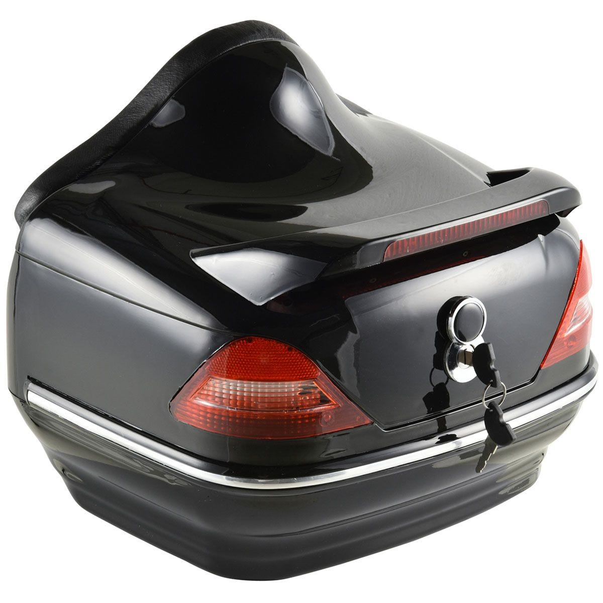 HOMCOM 26L Streamline Plastic Motorcycle Trunk with Reflector - Red & Black