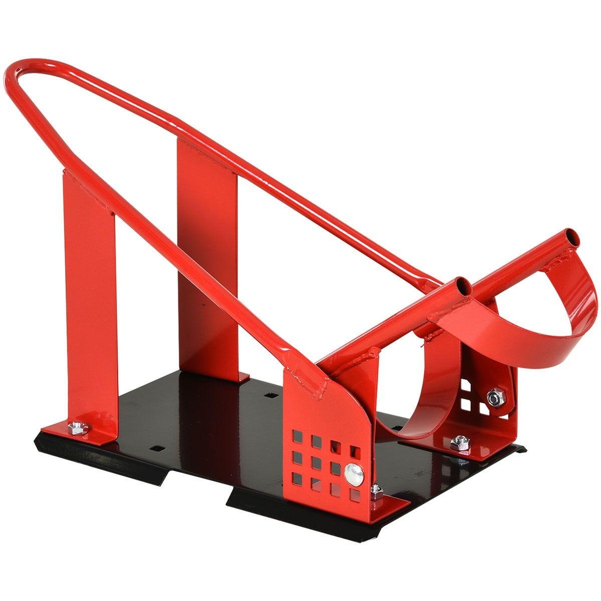 HOMCOM Steel Freestanding Motorcycle Wheel Chock - Red