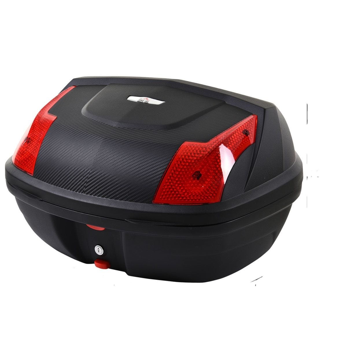 HOMCOM 48L Plastic Motorcycle Trunk with Reflector - Black