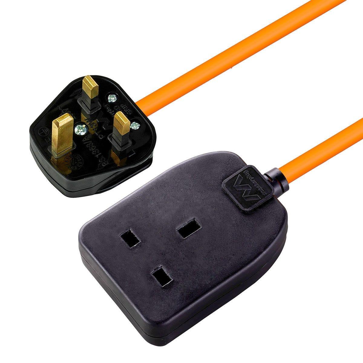 Masterplug 1 Socket 10m Extension Lead - Orange & Black