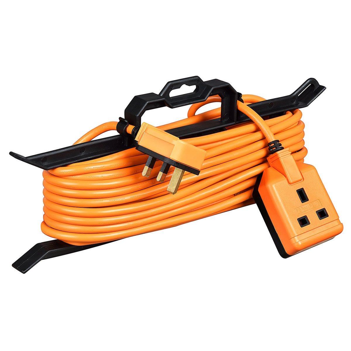 Masterplug 1 Socket 15m Extension Lead + Cable Tidy - Orange