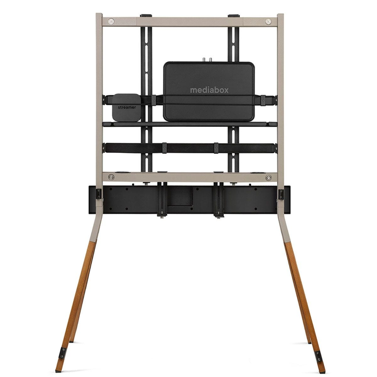 One For All Falcon Universal TV Stand for Screen Size 32-70 inch - Walnut and Gun Metal Grey