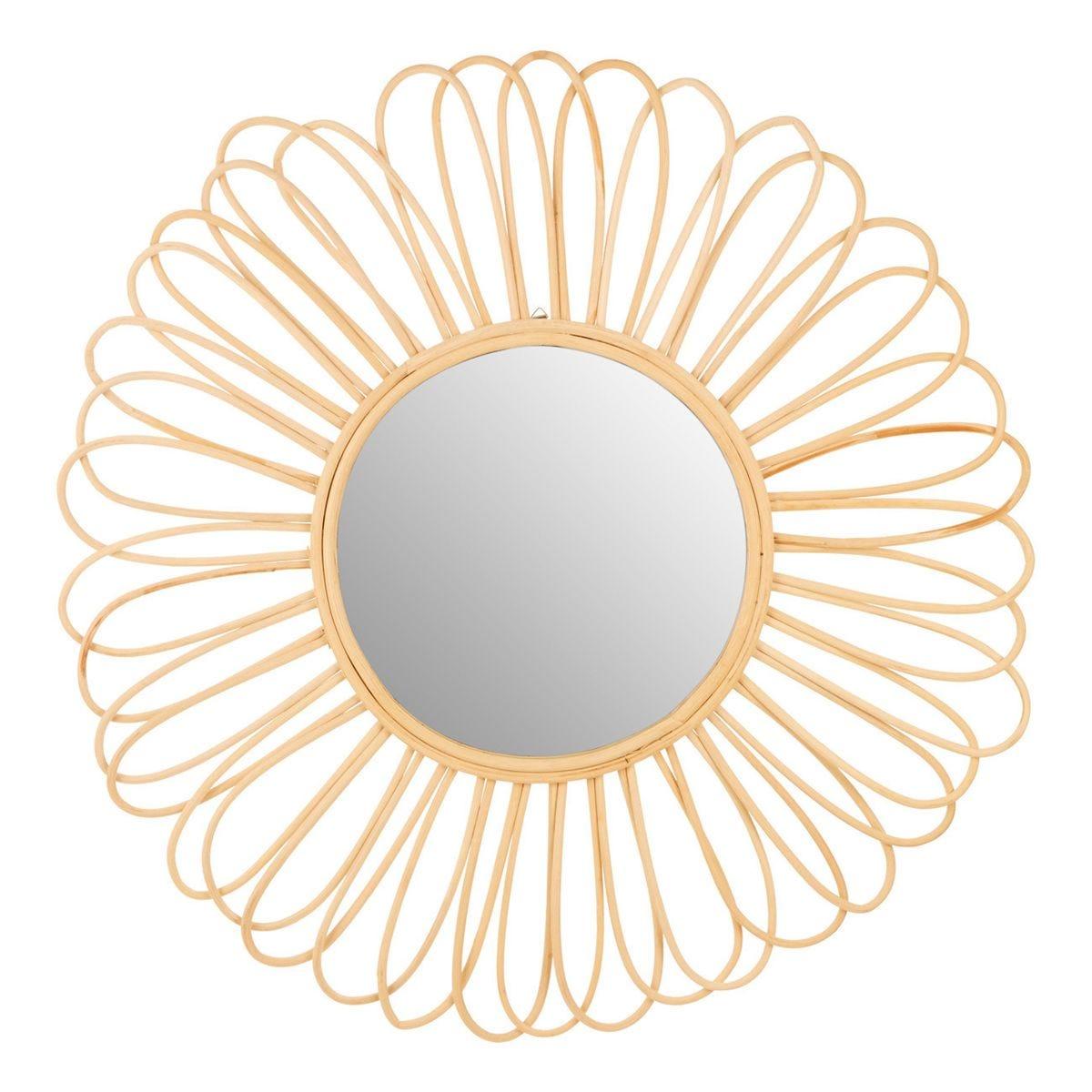 Round Wall Mirror - Petal Design Natural Rattan