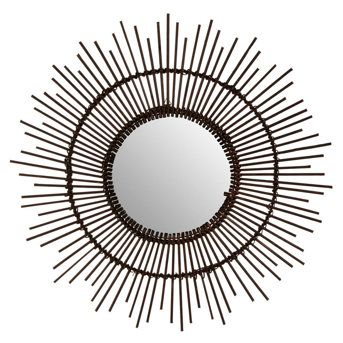 Round Wall Mirror - Natural Rattan/Black