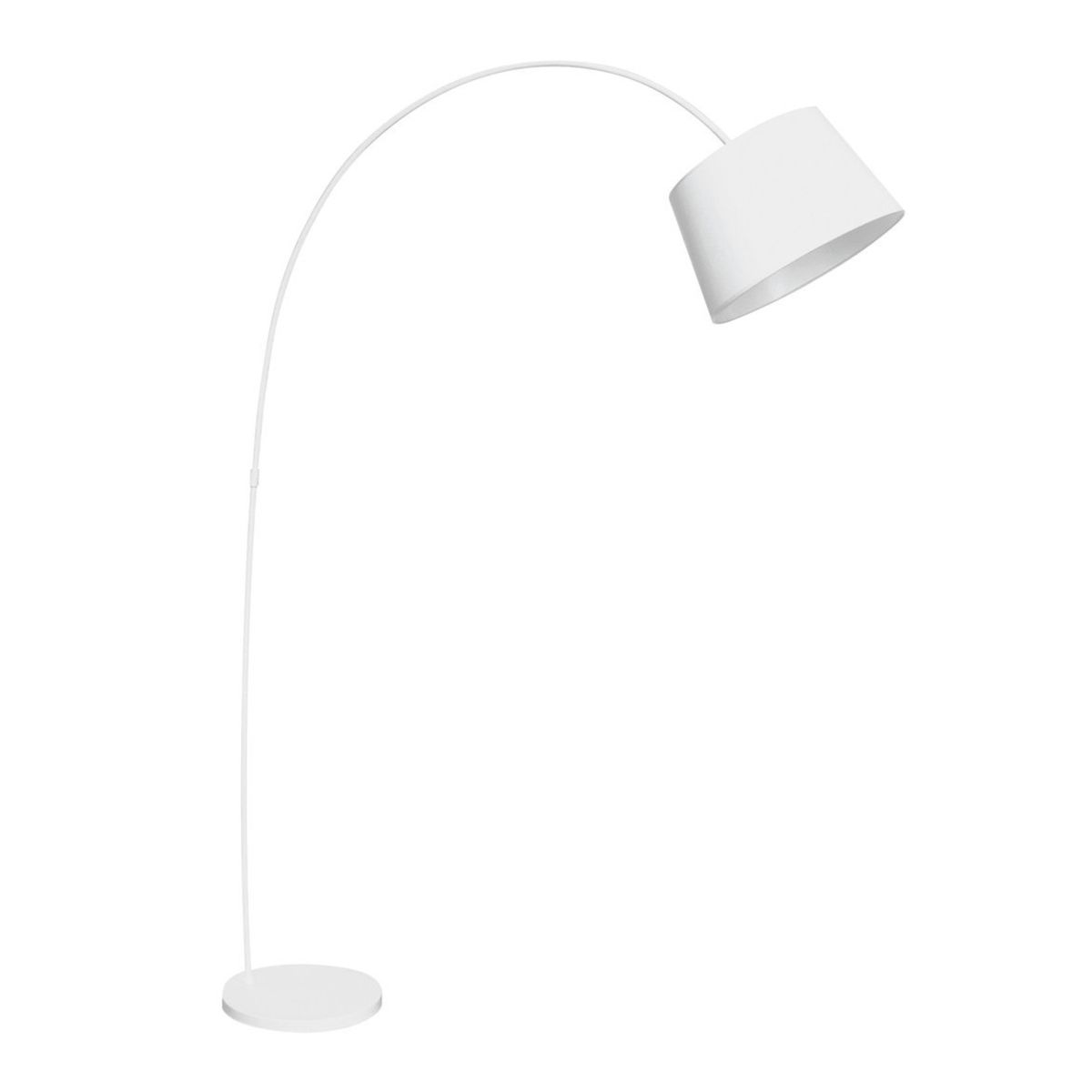 Floor Lamp Arched - White Metal/Fabric Shade
